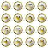 De gouden geplaatste pictogrammen van verschillende media Stock Afbeelding