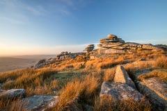 De gouden Gloed over Cheesewring, Bodmin legt, Cornwall vast royalty-vrije stock foto