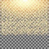 De gouden gloed schittert fonkelingen op transparante achtergrond Dalend stof Royalty-vrije Stock Foto