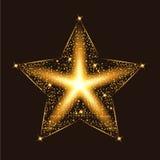 De gouden gloed schittert ster met deeltjes Grote partij en prestaties Royalty-vrije Stock Foto