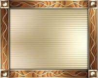 De gouden golf & het hout beëindigen frame Stock Afbeeldingen