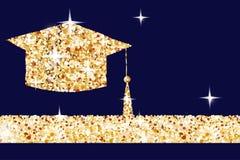 De gouden graduatieglb horizontale banner, gouden die studentpictogram van gouden wordt gemaakt schittert stof op donkerblauwe ac stock illustratie