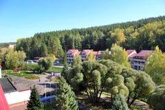 De gouden herfst in het Altai-gebied in Rusland Mooi landschap - weg in de herfstbos royalty-vrije stock afbeelding