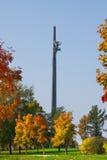 De gouden Herfst in het Park van de Overwinning op Heuvel Poklonnaya. Stock Afbeelding