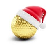 De gouden hoed van golfbalsanta royalty-vrije illustratie