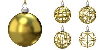 De gouden inzameling van Kerstmisballen 3d Royalty-vrije Stock Foto