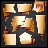 De gouden Inzameling van Toespraakbellen Set4 Stock Afbeelding