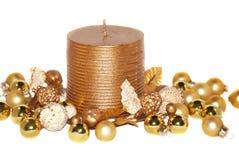 De gouden kaars van Kerstmis Stock Foto's