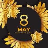 De gouden kaart van de folie Bloemengroet - Gelukkige Moederdag - 8 Mei-Goud fonkelt vakantie Stock Foto's