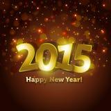 De gouden kaart van de het Nieuwjaargroet van 2015 Gelukkige met het vonken van de achtergrond van vleklichten Stock Afbeeldingen