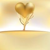 De gouden kaart van de valentijnskaartenboom. + EPS8 Stock Afbeelding