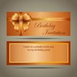 De gouden kaart van de verjaardagsuitnodiging Royalty-vrije Stock Foto