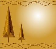 De gouden kaart van Kerstmis Stock Foto
