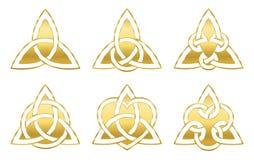 De gouden Keltische Driehoek knoopt Symbolen stock illustratie