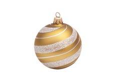 De gouden Kerstmisbal met schittert Stock Foto
