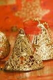De gouden klokken van Kerstmis Stock Afbeelding