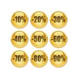 De gouden knoop van de korting Royalty-vrije Stock Afbeelding