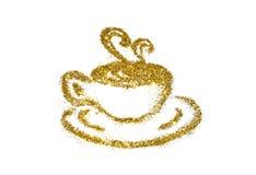 De gouden kop van koffie van schittert fonkeling op witte achtergrond Stock Afbeeldingen