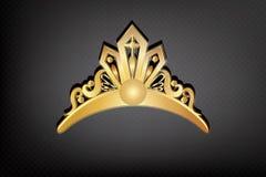 De gouden Kroon of tiaravector van het embleempictogram royalty-vrije illustratie