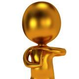 De gouden leuke mens toont uit tijdgebaar Stock Foto's