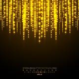 De gouden lichten glanzende verticale lijn schittert vakantiefestival over donkere achtergrond Gouden glanzend de lichtenpatroon  stock illustratie