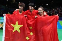De gouden medaille van het vrouwen` s China team bij de Olympische Spelen 2016 royalty-vrije stock foto