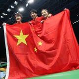 De gouden medaille van het vrouwen` s China team bij de Olympische Spelen 2016 stock afbeelding