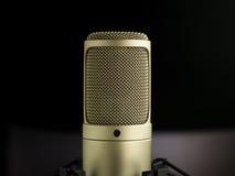 De Gouden Microfoon Stock Afbeelding