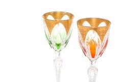 De gouden drinkbekers van het kristal Royalty-vrije Stock Foto
