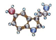 De gouden Moleculaire Structuur van de Serotoninemolecule met Glanzende Halfedelstenen Hand Getrokken Olie op Canvasart. Chemiewe vector illustratie