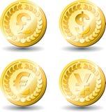 De gouden munten van het muntstuk vector illustratie