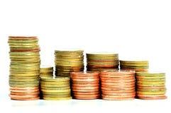 De gouden muntstukken sluiten omhoog achtergrond Stock Afbeelding