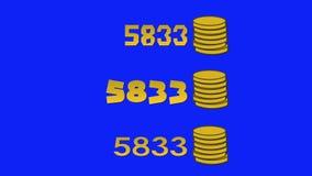 De Gouden Muntstukken van Arcade Video Game High Score op het Blauw Scherm stock videobeelden