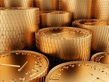 De gouden muntstukken van de close-up Royalty-vrije Stock Fotografie