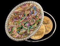 De gouden muntstukken van de iriserende moeder van parel doos Stock Foto