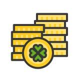 De gouden muntstukvector, Feest van Heilige Patrick vulde pictogram editable overzicht royalty-vrije illustratie