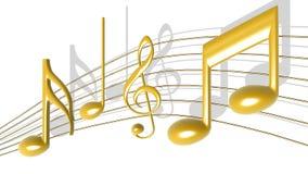 De gouden Nota's van de Muziek Stock Afbeeldingen