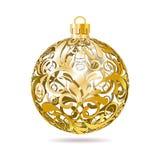 De gouden Openwork bal van Kerstmis op witte achtergrond. Royalty-vrije Stock Afbeeldingen
