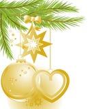 De gouden ornamenten van Kerstmis en pijnboomboom Stock Afbeeldingen