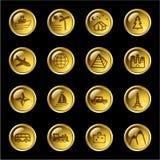 De gouden pictogrammen van de dalingsreis Stock Foto