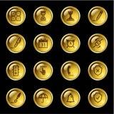 De gouden pictogrammen van de dalingssoftware Stock Foto's