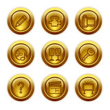 De gouden pictogrammen van het knoopWeb, reeks 28 Royalty-vrije Stock Foto's