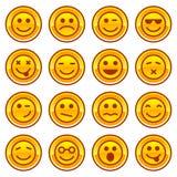 De gouden pictogrammen van Smileymuntstukken, de reeks van het tekenssymbool Royalty-vrije Stock Afbeelding