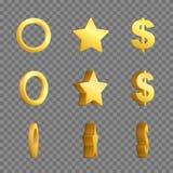 De gouden ring, ster en dollarkaders van de tekenomwenteling Stock Afbeelding