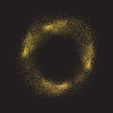 De gouden ronde schittert textuur op een zwarte achtergrond Het element van het ontwerp Stock Foto's