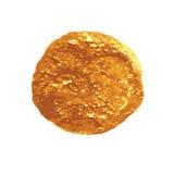 De gouden ronde vlekwaterverf isoleerde wit vectorelement als achtergrond voor ontwerp Royalty-vrije Stock Afbeelding