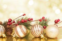 De gouden scène van Kerstmis Stock Fotografie