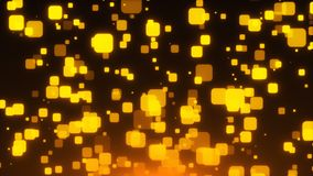 De gouden schitterende vierkanten zijn in ruimte, 3d geeft de vakantie achtergrond, gouden explosie van terug confettien royalty-vrije illustratie
