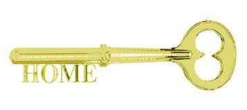 De gouden Sleutel van het Huis van het Huis Stock Foto