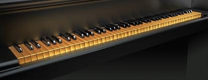 De gouden Sleutels van de Piano Stock Afbeeldingen